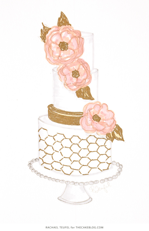 gold-honeycomb-cake-sketch-3
